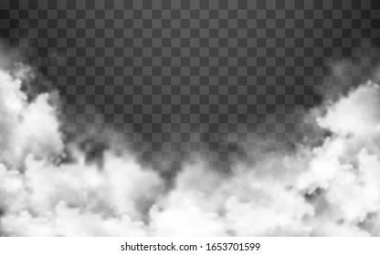 Fog or smoke isolated on transparent background. Vector illustration.