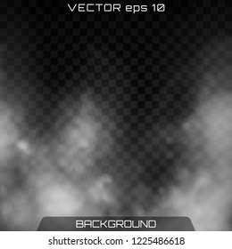 Fog or smoke isolated transparent special effect. Realistic isolated cloud on a dark transparent background. Vector realistic smoke on the transparent background.