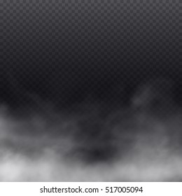 Fog or smoke isolated transparent special effect. Beautiful white vector cloudiness, mist background. Vector illustration.