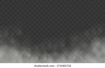 Fog or smoke isolated vector transparent special effect. Realistic smoke, haze, mist or cloudiness affect. Transparent clouds spring sunny weather cloudscape special effect, mist or smog background.