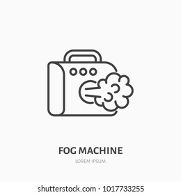Fog, smoke machine flat line icon. Special effects equipment rental sign. Thin linear logo for event supplies store.