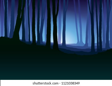 Foggy forest. Dark tree silhouette. Tree trunks in blue mist. Fog in night forest  vector illustration.