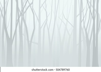 Foggy forest. Vector illustration