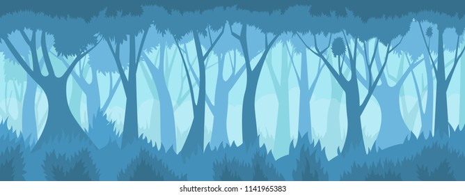 Foggy forest. Vector landscape.