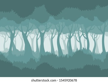 Foggy forest. Vector landscape.vector illustration