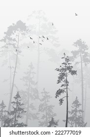foggy landscape with a flock of birds flying over the forest, black and white