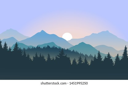 foggy mountain landscape during sunrise