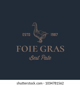 Foie Gras Goose Pate Abstract Vector Sign, Symbol or Logo Template. Hand Drawn Goose Sillhouette with Retro Typography. Vintage Luxury Vector Emblem. Isolated.