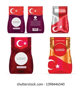 Foil food snack sachet bag packaging for coffee, salt, sugar, pepper, spices, sachet, sweets, chips, cookies colored in national flag of Turkey. Made in Turkey on white background