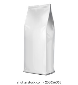 Foil Paper Food Bag Package Of Coffee, Salt, Sugar, Pepper, Spices Or Flour, Folded, Grayscale. On White Background Isolated. Mock Up Template Ready For Your Design. Product Packing Vector EPS10