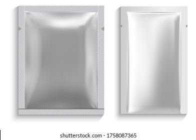 Foil sachet. Facial mask pouch. White package vector blank. Disposable wet napkin packaging for woman. Silver wrapper for woman facial skin cosmetic sheet. Snack product packet