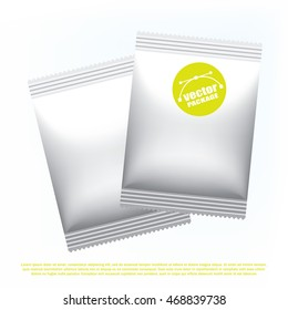 Foil stick packaging for the dry beverage, salt and spices. Plastic snack pack. Packaging mock up template. Good for food design. Vector illustrated