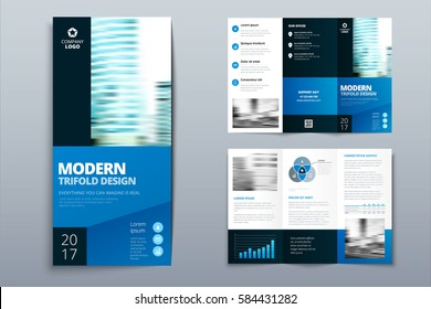 Business tri fold brochure design. Blue corporate business template for tri fold flyer. Layout with modern square photo and abstract background. Creative concept folded flyer or brochure.