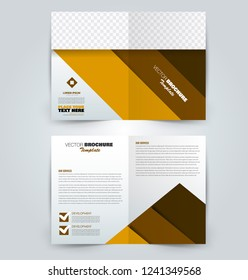Fold brochure template. Flyer background design. Magazine or book cover, business report, advertisement pamphlet. Orange and brown color. Vector illustration.