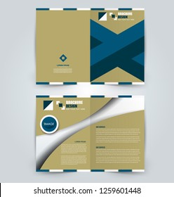 Fold brochure template. Flyer background design. Magazine or book cover, business report, advertisement pamphlet. Blue color. Vector illustration.