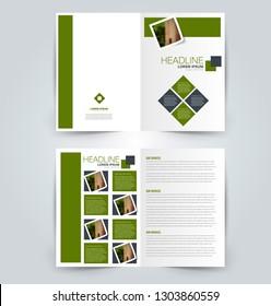 Fold brochure template. Flyer background design. Magazine or book cover, business report, advertisement pamphlet. Green color. Vector illustration.