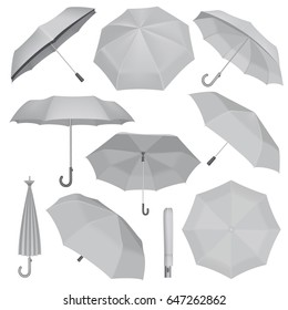 Fold or open umbrella mockup set. Realistic illustration of 10 umbrella vector mockup set for any web