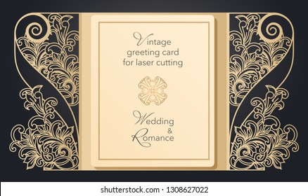 Foldable greeting card gate for laser cutting. Delicate pattern for a wedding, a romantic party. Carved design for menus, covers, folders for presentations.