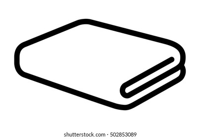 Folded bath towel or napkin line art vector icon for apps and websites