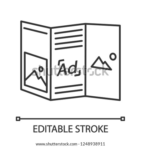 folded brochure linear icon thin line stock vector royalty free