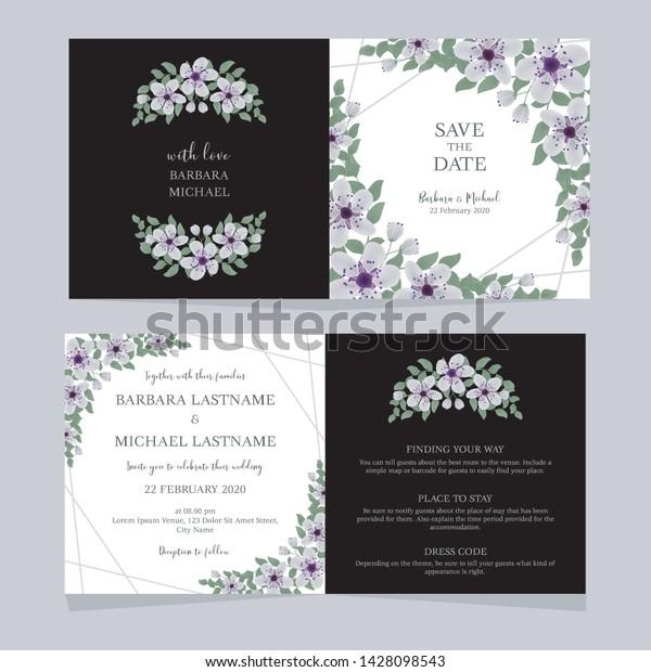 Folded Cherry Blossom Floral Wedding Invitation Stock Vector ...