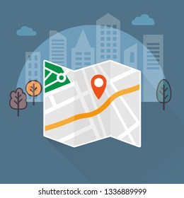Folded city map with geolocation pin. Navigation concept, vector