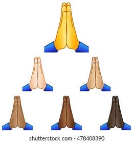 Folded hands emoji set of various skin tones