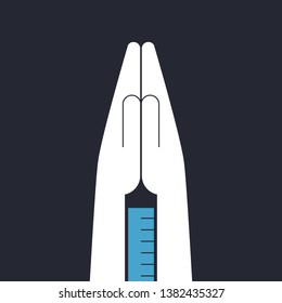 Folded hands with syringe between. Euthanasia concept illustration.