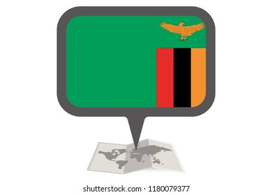 Folded Map Illustration with the Flag of Zambia