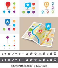 A folded map of an imaginary city with GPS icons and pin template for navigation system