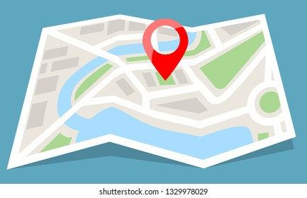 Folded map paper with red pin icon. Flat color style vector illustration.