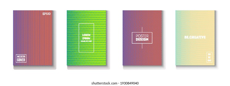 Folded Minimal Cover Vector Set. Textured Gradient Overlay Business Folder. Cool Technology Background. Modern Flyer Graphic Design. 80s Neon Music Poster. Minimal Covers Set. Funky Magazine Page.