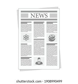 Folded Newspaper News in flat design style. Business news with Articles and Graph, isolated on white background.