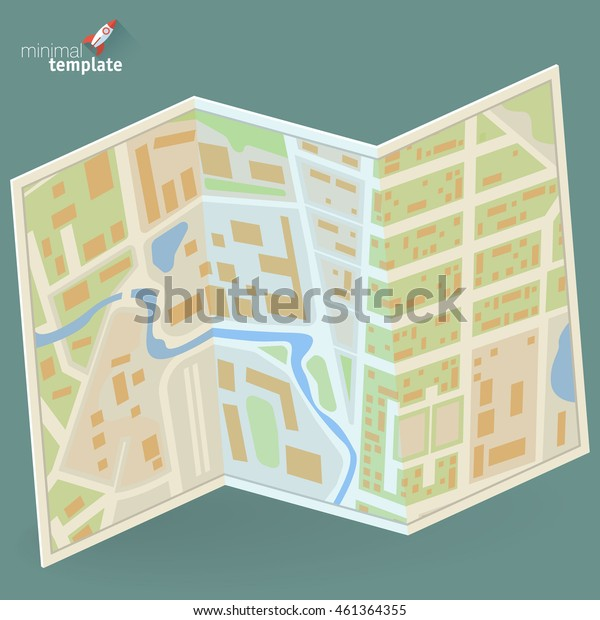 Folded paper city map flat design vector concept for navigation service. Tourist guide travel map.