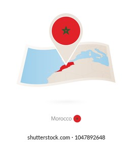 Folded paper map of Morocco with flag pin of Morocco. Vector Illustration