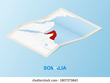 Folded paper map of Somalia with neighboring countries in isometric style on blue vector background.