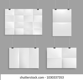 Folded paper mockup realistic set with images of unfolded map paper of different size on grey wall vector illustration