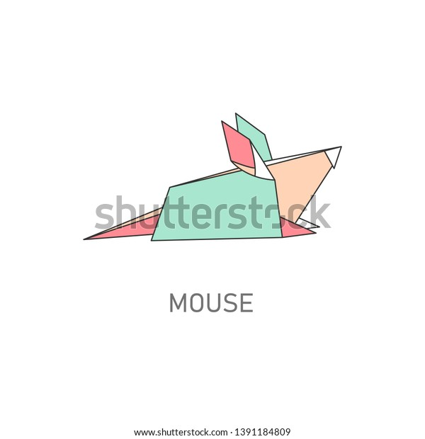 Folded Paper Origami Mouse Rat Flat Stock Vector (Royalty ... on