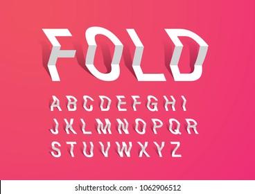 folded paper typography design vector/illustration