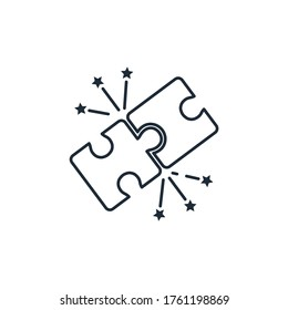 Folded puzzle and fireworks. Matching desires and opportunities. Vector linear icon isolated on white background.