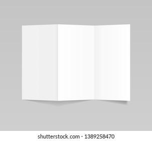 Folded realistic blank sheet of paper, flyer mockup