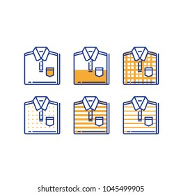 Folded shirt icon set, men wear choice, fashion trend, casual clothing, new collection, basic wardrobe, vector linear design