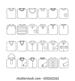 Folded shirt set.Hand drawn illustration on the white background. Very easy to edit.
