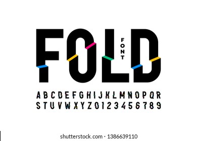 Folded style colorful font design, alphabet letters and numbers, vector illustration