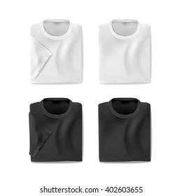 Folded  t-shirts set, vector eps10 illsutration on white background