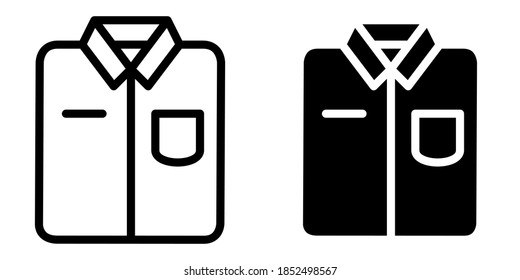 Folded Uniform or Shirt in Outline and Glyph Icon