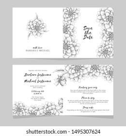 Folded wedding invitation card with hand drawn dahlia flower bouquet decoration