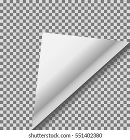 Folded up white foil blank vector note paper.