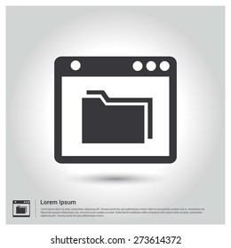 folder in application Icon Vector Illustration, pictogram icon on gray background. Flat design style