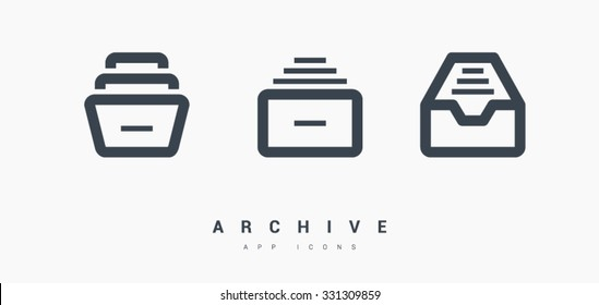 Folder archive. Cabinet. Drawer. Isolated minimal single flat icon in black and white colors. One of a set of linear web icons. Line vector icon for websites and mobile minimalistic flat design.